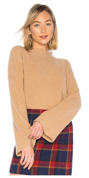 BROWN ALLAN The Ribbed Bell Sleeve Sweater in tan - Wool blend. Hand wash cold. Rib knit fabric. Flared...