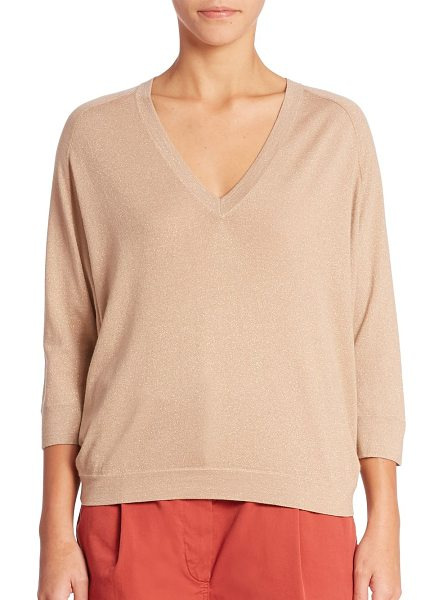 Brunello Cucinelli cashmere-blend top in hazelnut - Classic top in a banded sheer detail.V-neck. Banded...