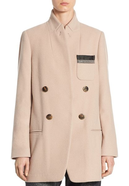 Brunello Cucinelli cashmere monili jacket in dusty pink - Cashmere jacket with monili detailing. Stand collar....