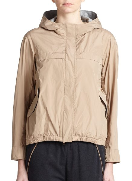 Brunello Cucinelli Hooded taffeta jacket in peanut - A sporty design in lightweight taffeta, updated with a...