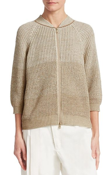 BRUNELLO CUCINELLI knit zip-front cardigan in hazel nut - EXCLUSIVELY AT SAKS FIFTH AVENUE. Ribbed knit cardigan...