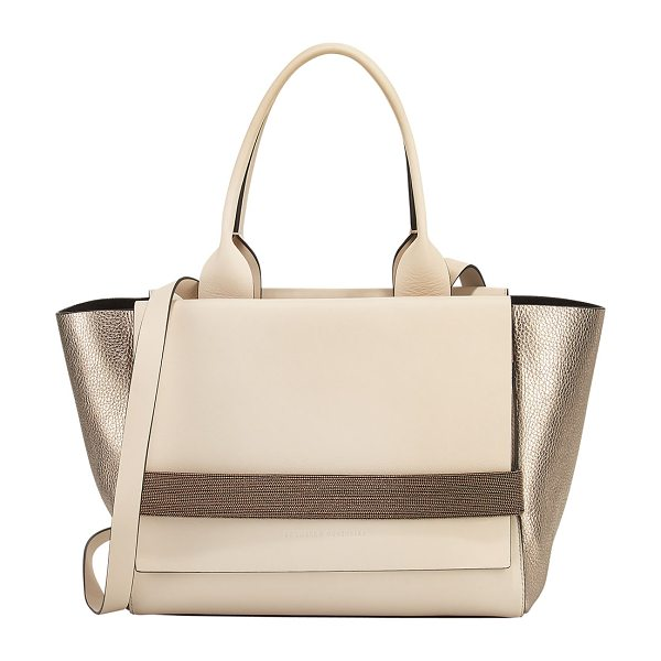 BRUNELLO CUCINELLI Medium Tricolor Flap Tote Bag in light beige - Brunello Cucinelli tricolor calfskin, nubuck, and...