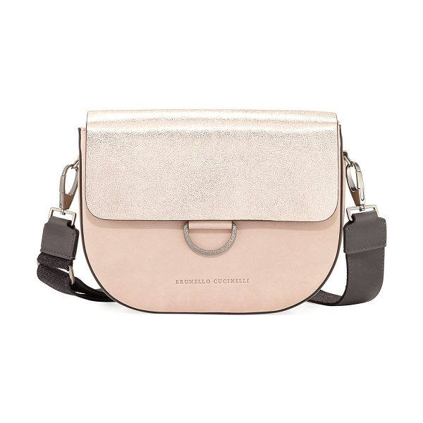 Brunello Cucinelli Metallic Leather/Nubuck Crossbody Bag in rose gold