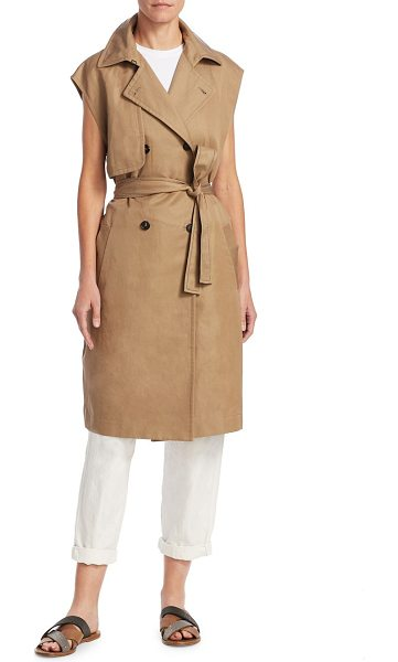Brunello Cucinelli mid-length trench vest in nutmeg - Reinvented trench coat in a sleeveless cut. Notch...