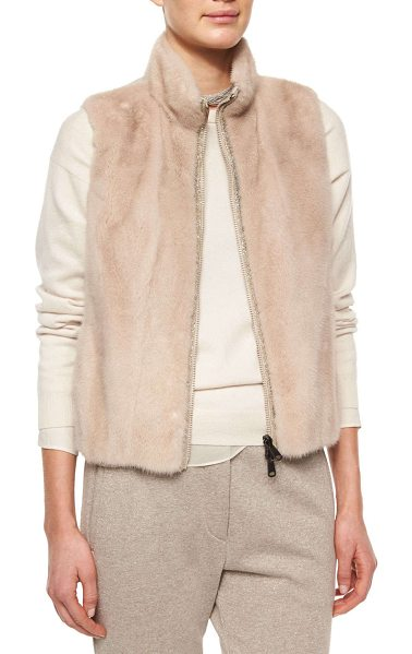 Brunello Cucinelli Mink fur/nylon combo vest in nude - Brunello Cucinelli vest features dyed mink (Denmark) fur...