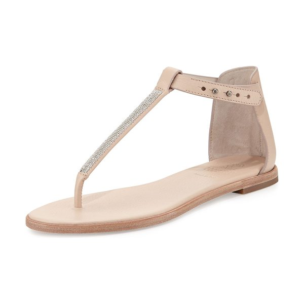 Brunello Cucinelli Monili chain flat thong sandal in nude
