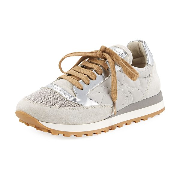 Brunello Cucinelli Monili-Panel Embroidered Sneaker in silver - Brunello Cucinelli suede and leather sneaker with...