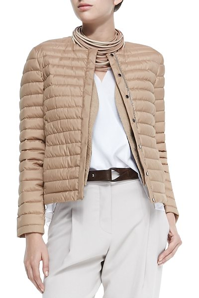 BRUNELLO CUCINELLI Puffer jacket with monili placket - Brunello Cucinelli puffer jacket with Monili trim down...