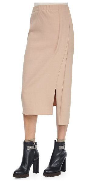 Brunello Cucinelli Pull-on midi skirt w/slits in toffee - Brunello Cucinelli midi skirt in knit. Approx....