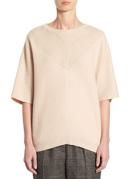 Brunello Cucinelli ribbed cashmere pullover in powder - Ribbed pullover in lavish cashmere. Roundneck....