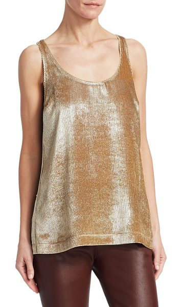 Brunello Cucinelli ribbed scoopneck tank top in gold - Brunello Cucinelli is famed for elevated basics. A...
