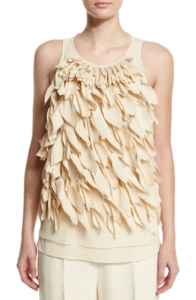 Brunello Cucinelli Round-Neck Petal-Embellished Tank in butter - Brunello Cucinelli stretch-woven tank with laser-cut...