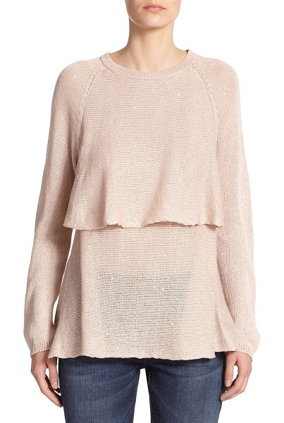 Brunello Cucinelli Sequined overlay sweater in nude - A dusting of paillettes adds subtle shimmer to this...