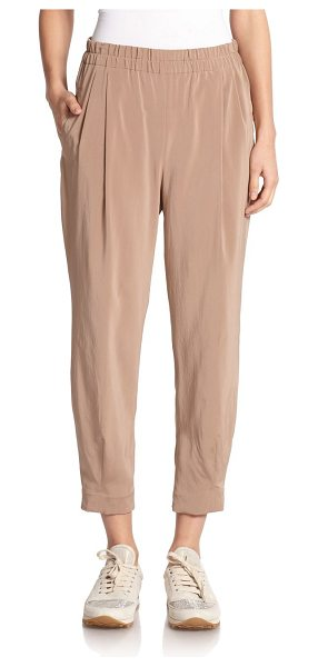 Brunello Cucinelli Silk pleat-front trousers in biscotti