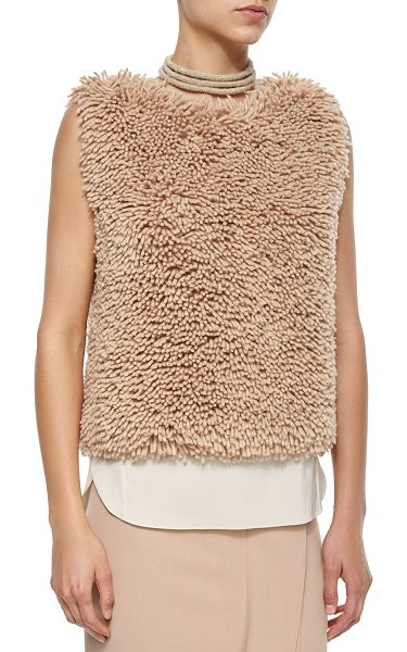 Brunello Cucinelli Sleeveless Chubby Cashmere-Blend Pullover in toffee - Brunello Cucinelli chubby textured pullover. Approx....