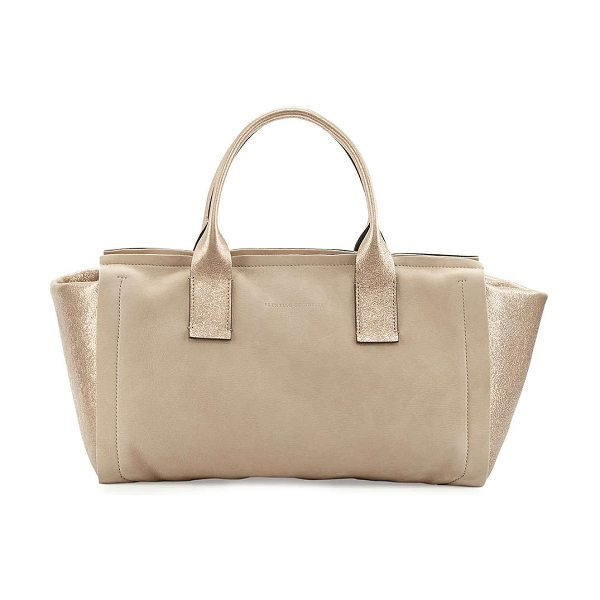 BRUNELLO CUCINELLI Suede/metallic leather origami tote bag -  Brunello Cucinelli suede and metallic leather origami...
