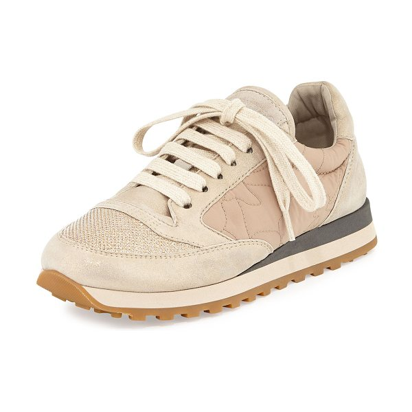 Brunello Cucinelli Suede/velour/quilted sneaker in latte - Brunello Cucinelli sneaker in suede, velour, and quilted...