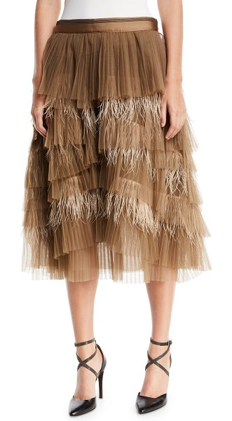 Brunello Cucinelli Tiered Tulle Feathered Midi Skirt in brown - Brunello Cucinelli skirt in tiered tulle and ostrich...
