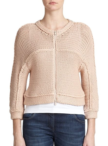 Brunello Cucinelli Tubular-knit cardigan in nude - A sculptural design with cozy, tubular knit construction...