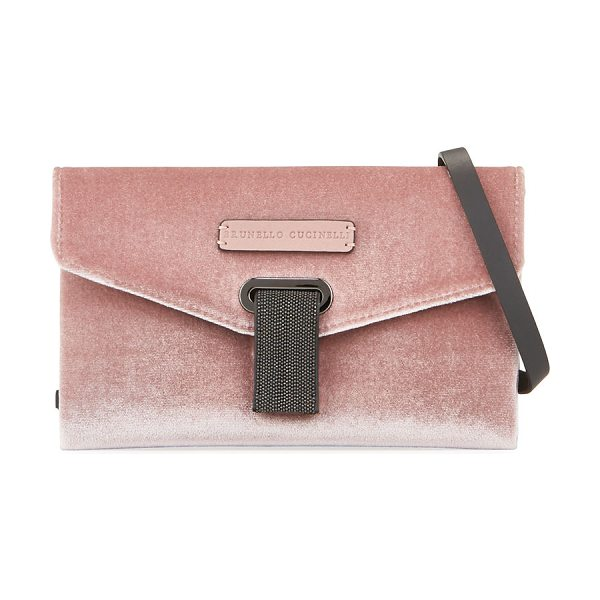Brunello Cucinelli Velvet Monili Crossbody Bag in light pink - ONLYATNM Only Here. Only Ours. Exclusively for You....