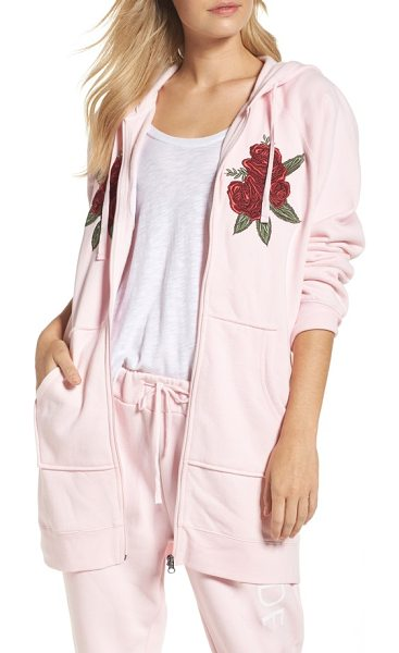 BRUNETTE the Label blonde embroidered zip hoodie in pink white - Bold rose embroidery adds an Americana feel to this...