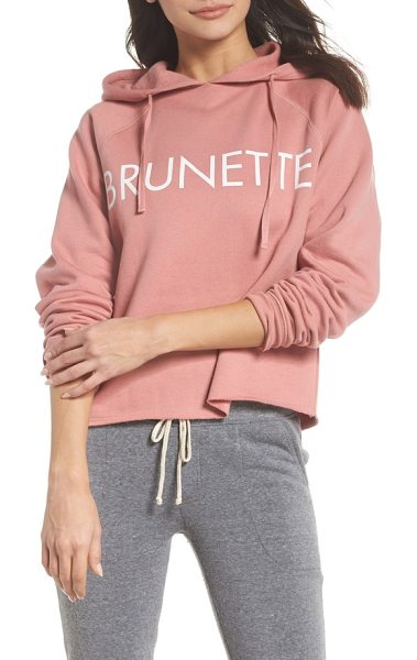BRUNETTE the Label brunette raw hem hoodie in coral