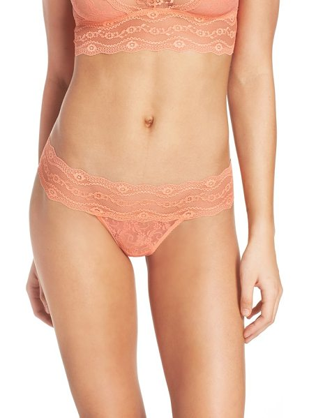 B.TEMPT'D BY WACOAL 'lace kiss' thong - A sheer, floral lace thong is cut for a flattering fit...