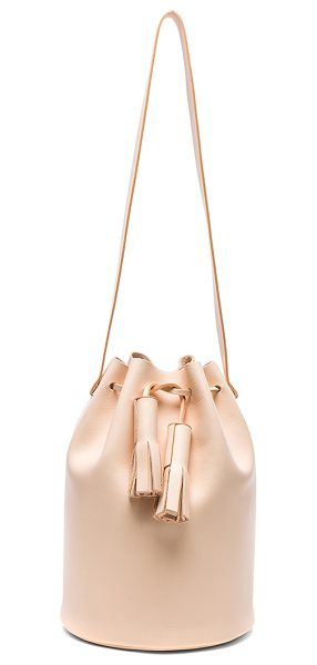 Building Block Bucket Bag in nude - Genuine leather with raw lining. Made in Taiwan....