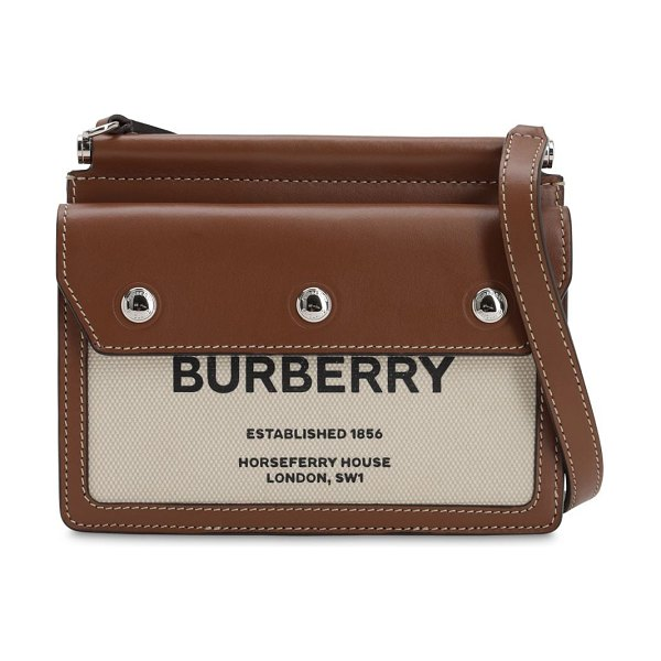 Burberry Baby title pocket canvas & leather bag in natural,brown