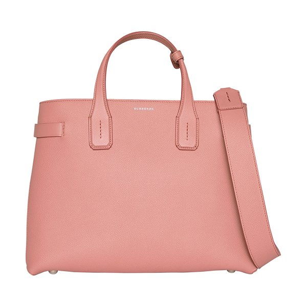 Burberry Banner Medium Derby Leather Tote Bag in pink