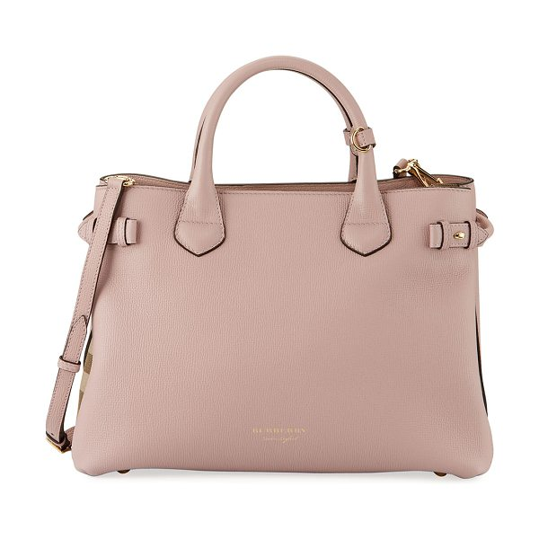 Burberry Banner House Check Derby Tote Bag in pink - Burberry derby leather tote bag with signature house...