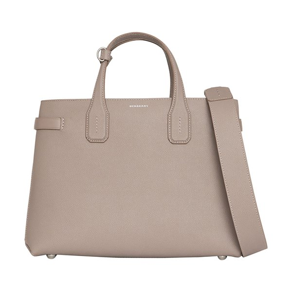 Burberry Banner Medium Derby Leather Tote Bag in taupe