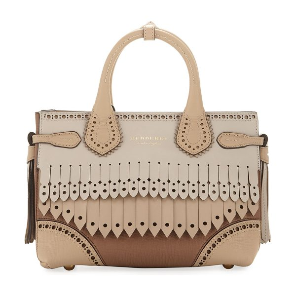 Burberry Banner Small Broguing Fringe Tote Bag in beige - Burberry leather tote bag with pinked and brogue trim....