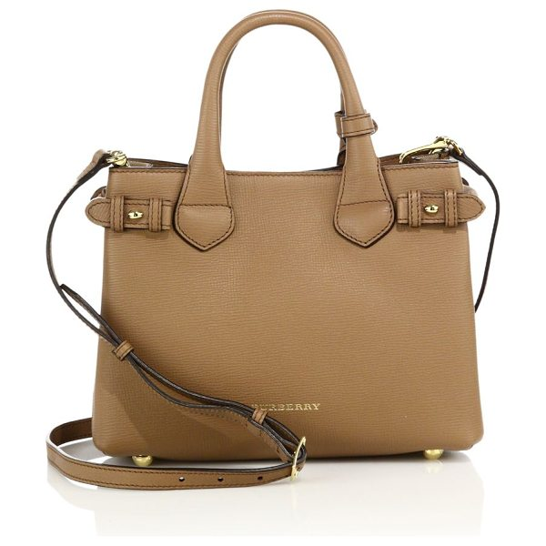 Burberry Banner small leather & house check satchel in darksand - Rich leather satchel with signature house check...