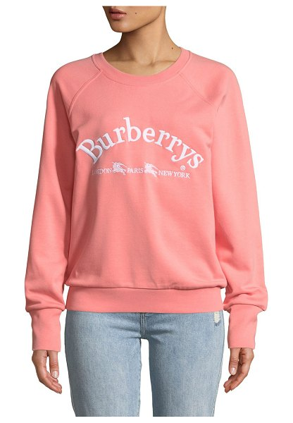 Burberry Battarni Oldschool Embroidered Logo Jersey Crewneck Sweatshirt in pale apricot - Burberry sweatshirt in jersey with embroidered archive...