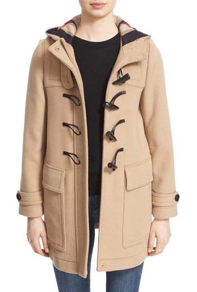 Burberry baysbrooke heart lined wool duffle coat in new camel - Hearts sweeten up the instantly recognizable check...