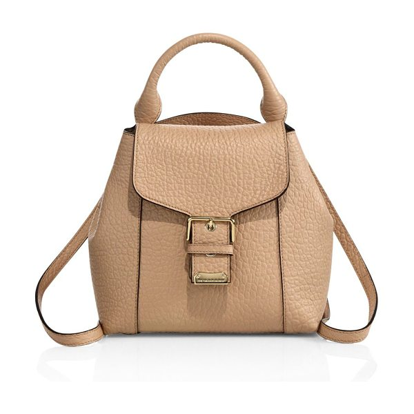 BURBERRY Belmont small leather backpack in paleapricot - Richly textured leather backpack with gleaming buckleTop...