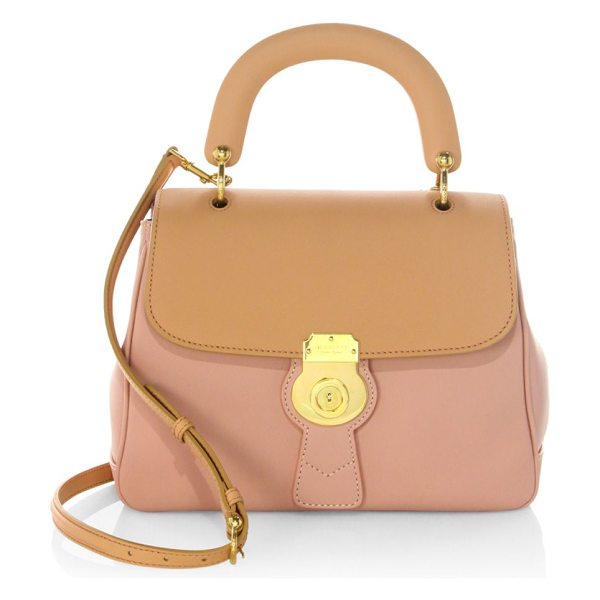 Burberry bi-colour leather top handle bag in ash rose - Trench top handle bag featuring two-tone finish. Top...