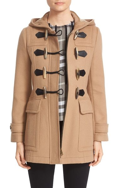 Burberry 'blackwell' wool duffle coat in camel - Signature check print lines the hood of a hearty wool...