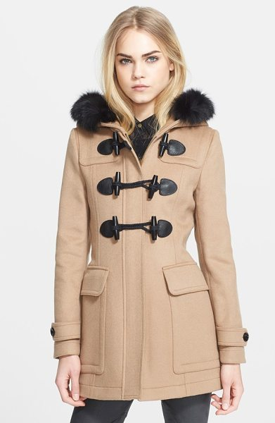 Burberry Brit blackwell wool duffle coat with genuine fox fur trim in new camel - A ruff of silky fox fur trims the hood of a hearty wool...