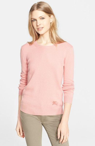Burberry Brit cashmere blend crewneck sweater in coral pink - Cashmere is blended with cotton to produce the lighter...
