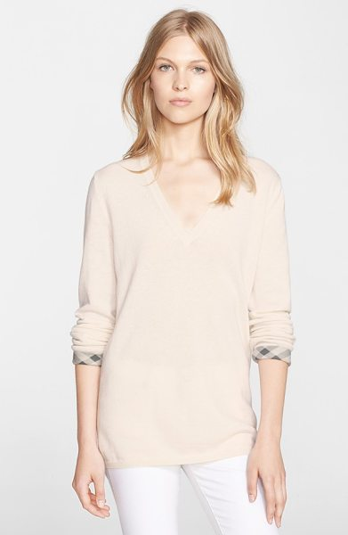 BURBERRY BRIT check cuff cashmere & cotton v-neck sweater in natural white - A supersoft blend of cashmere and cotton fashions a slim...