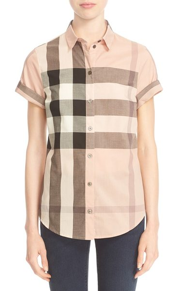 Burberry Brit check print short sleeve cotton shirt in antique pink - Iconic checks pattern an airy cotton shirt styled with...
