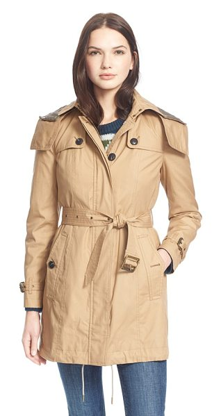 Burberry Brit fenstone single breasted trench coat with detachable hood & liner in light camel - A water-resistant trench gets season-spanning style and...