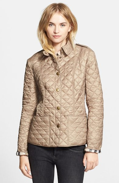 Burberry Brit kencott patch pocket quilted coat in pale fawn - Princess seams shape a lightweight, diamond-quilted coat...