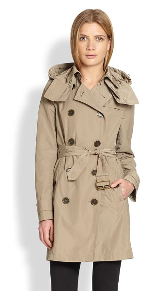 BURBERRY BRIT balmoral trench coat - Iconic style in season-spanning design. Oversized hood....