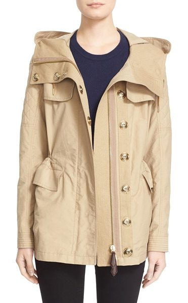 Burberry Brit parkfield hooded drawstring waist jacket in honey - A host of utility details-a generous attached hood,...