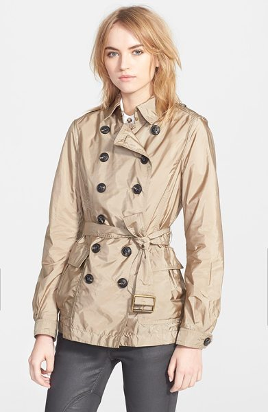 BURBERRY BRIT peasdale belted short trench coat - A nylon shell brings lightweight water-resistance and...