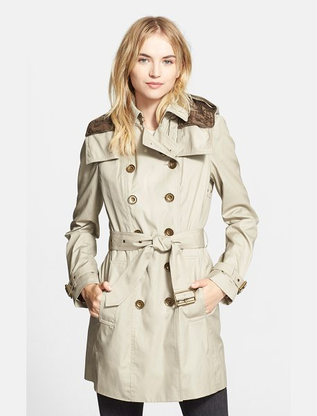 Burberry Brit reymoore trench coat with detachable hood & liner in taupe - A short version of the iconic double-breasted trench is...