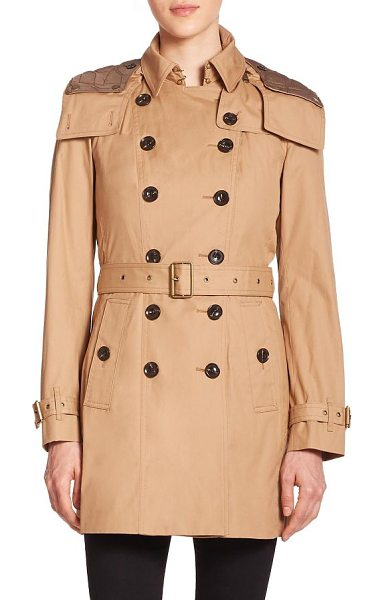 Burberry Brit reymoore trench coat in lightcamel - A signature Burberry Brit trench, replete with sartorial...